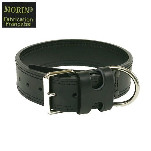 collier chien cuir noir et blanc