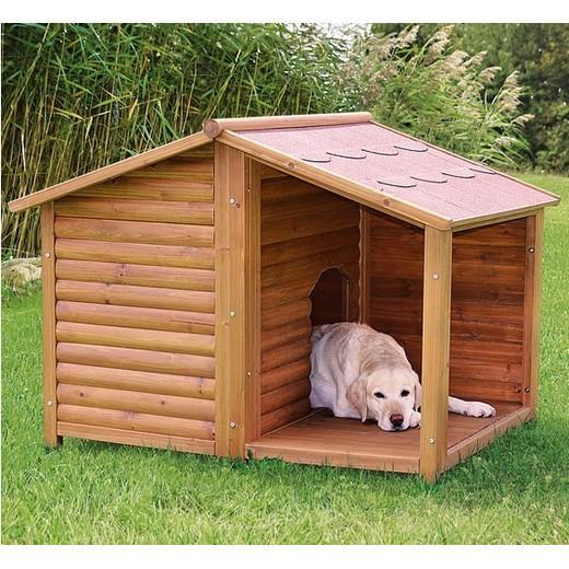 Niche bois chalet natura niche bois pour chien bancs de for Niche chien exterieur