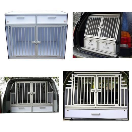 cage de transport pour chiens dogbox pro double avec tiroir de rangement caisses de transport. Black Bedroom Furniture Sets. Home Design Ideas