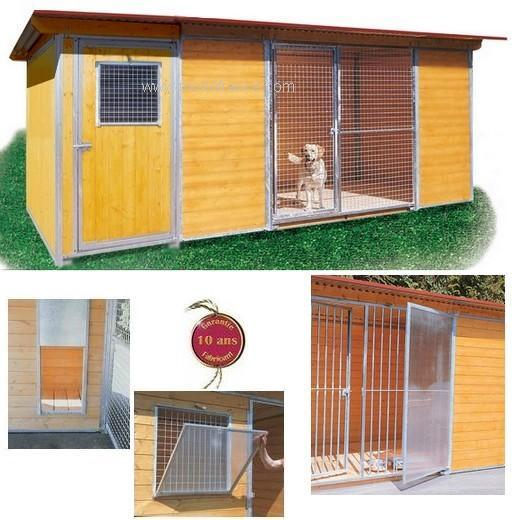 Chenil Eleveur Protection pour chien Enclos pour chien, parcà chien, chenil, bois et métal  # Enclos Pour Chien En Bois