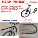 PACK PROMO - Patinette Kickbike Cross Max Disc 20D+ Alu brossé + barre de traction courbe + ligne de trait
