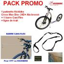 PACK PROMO - Patinette Kickbike Cross Max Disc 20D+ Alu brossé + barre de traction CANI-FLEX + ligne de trait