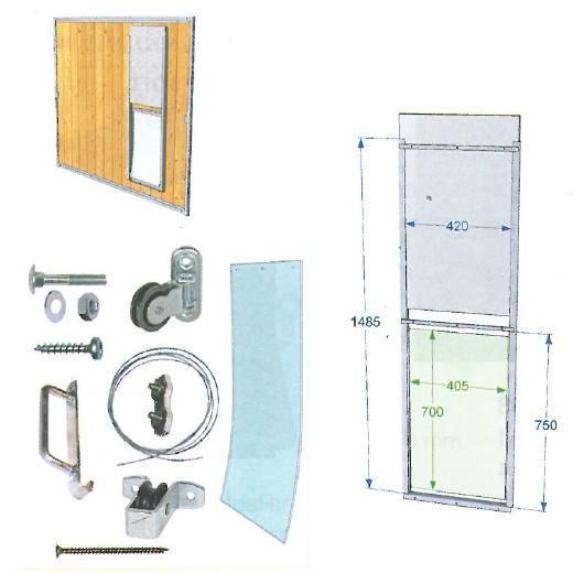 trappe coulissante chenil pour panneau bois sapin. Black Bedroom Furniture Sets. Home Design Ideas