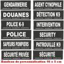 Bandes de personnalisation (type sécurité) 16 x 5 cm pour harnais Julius K-9