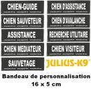 Bandes de personnalisation (type utilitaire) 16 x 5 cm pour harnais Julius K-9