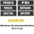 Bandes de personnalisation 16 x 5 cm pour harnais Julius K-9