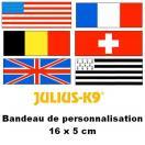 Bandes de personnalisation (Drapeaux) 16 x 5 cm pour harnais Julius K-9