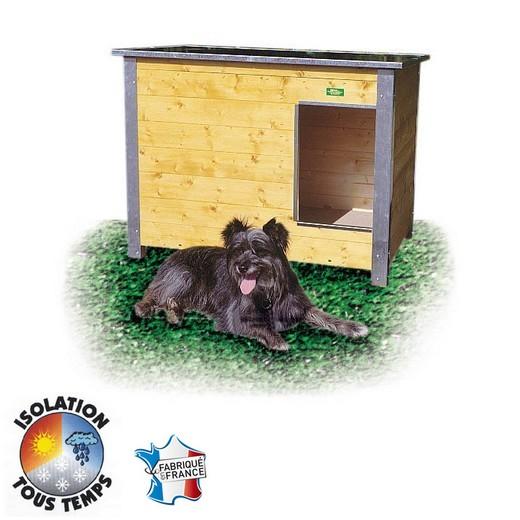niche bois confort isolee toit plat pour chien place animalerie. Black Bedroom Furniture Sets. Home Design Ideas