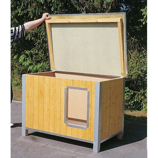 Niche bois confort toit plat pour chien niche bois pour for Niche pour chat exterieur