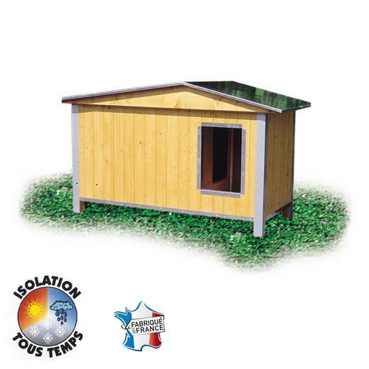 niche bois confort toit double pan pour chien niche bois pour chien bancs de couchage. Black Bedroom Furniture Sets. Home Design Ideas
