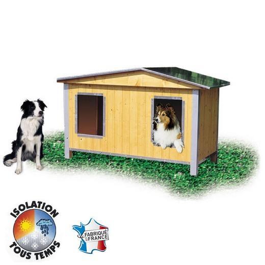 Niche bois confort duo double pan pour chien niche bois for Niche chien exterieur